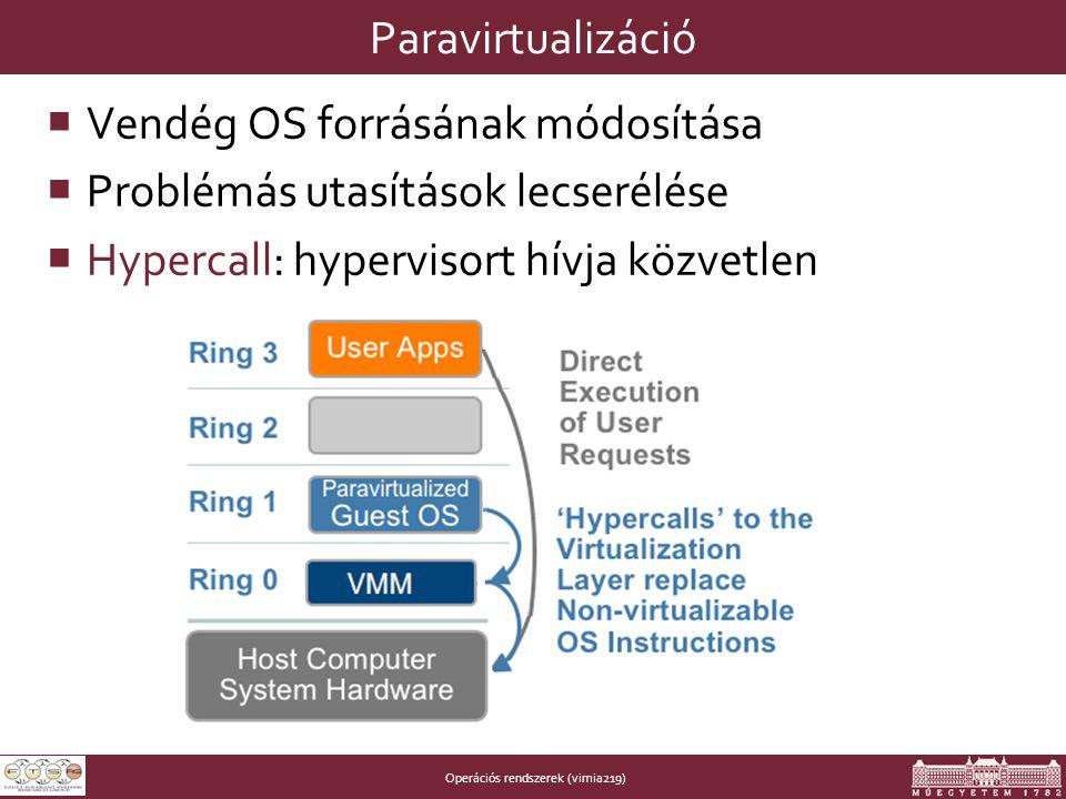 Operációs rendszerek (vimia219) Paravirtualizáció  Vendég OS forrásának módosítása  Problémás utasítások lecserélése  Hypercall: hypervisort hívja közvetlen