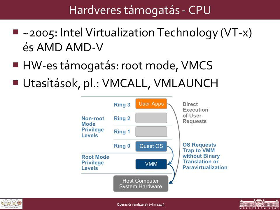 Operációs rendszerek (vimia219) Hardveres támogatás - CPU  ~2005: Intel Virtualization Technology (VT-x) és AMD AMD-V  HW-es támogatás: root mode, VMCS  Utasítások, pl.: VMCALL, VMLAUNCH