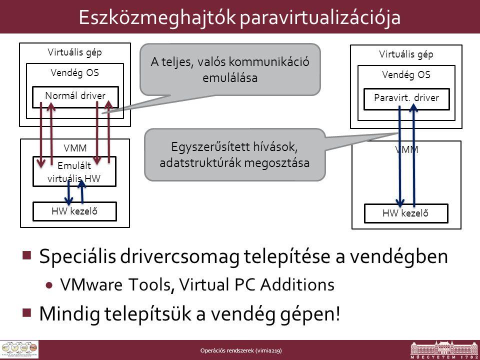 Operációs rendszerek (vimia219) Eszközmeghajtók paravirtualizációja  Speciális drivercsomag telepítése a vendégben  VMware Tools, Virtual PC Additions  Mindig telepítsük a vendég gépen.