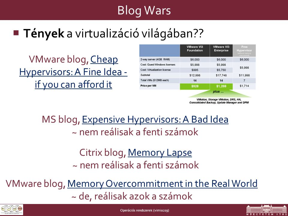 Operációs rendszerek (vimia219) Blog Wars  Tények a virtualizáció világában?? VMware blog, Cheap Hypervisors: A Fine Idea - if you can afford itCheap
