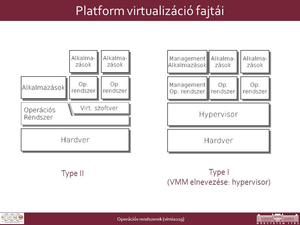Operációs rendszerek (vimia219) Platform virtualizáció fajtái Type II Type I (VMM elnevezése: hypervisor)