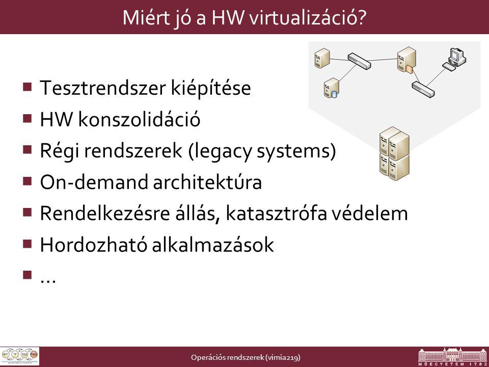 Operációs rendszerek (vimia219) Miért jó a HW virtualizáció.