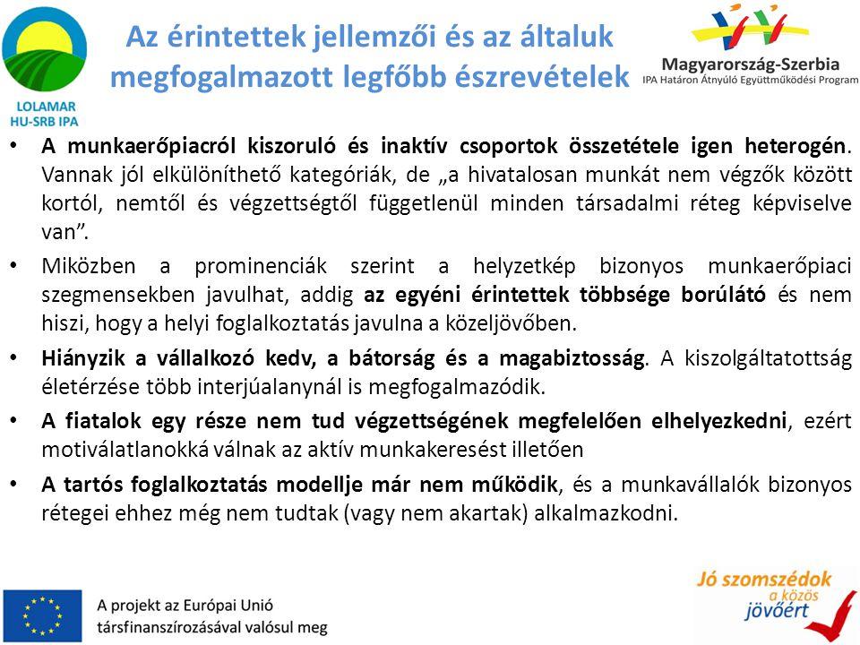 Az érintettek jellemzői és az általuk megfogalmazott legfőbb észrevételek • A munkaerőpiacról kiszoruló és inaktív csoportok összetétele igen heterogé