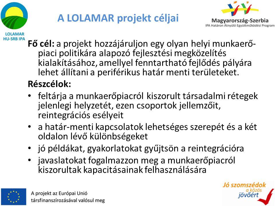 A LOLAMAR projekt céljai Fő cél: a projekt hozzájáruljon egy olyan helyi munkaerő- piaci politikára alapozó fejlesztési megközelítés kialakításához, a