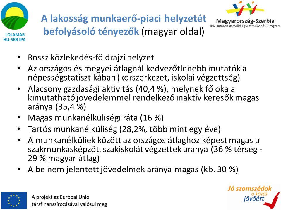 A lakosság munkaerő-piaci helyzetét befolyásoló tényezők (magyar oldal) • Rossz közlekedés-földrajzi helyzet • Az országos és megyei átlagnál kedvezőt