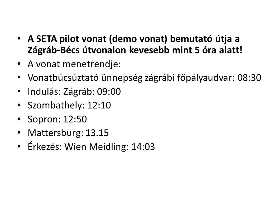 • A SETA pilot vonat (demo vonat) bemutató útja a Zágráb-Bécs útvonalon kevesebb mint 5 óra alatt.