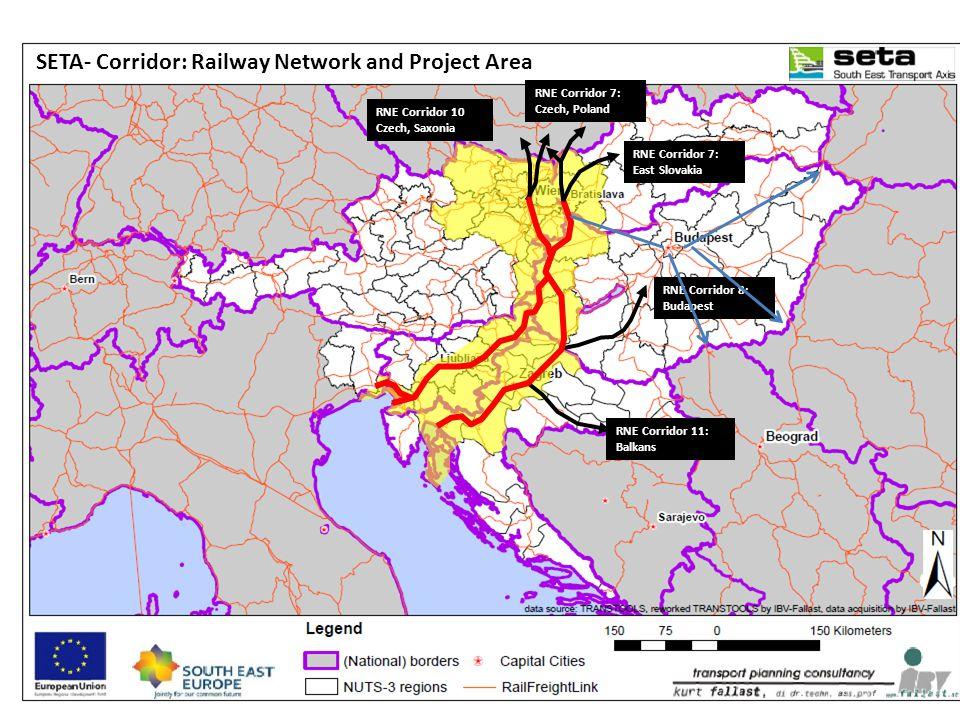 RNE Corridor 11: Balkans RNE Corridor 7: East Slovakia RNE Corridor 7: Czech, Poland RNE Corridor 10 Czech, Saxonia SETA- Corridor: Railway Network and Project Area RNE Corridor 8: Budapest