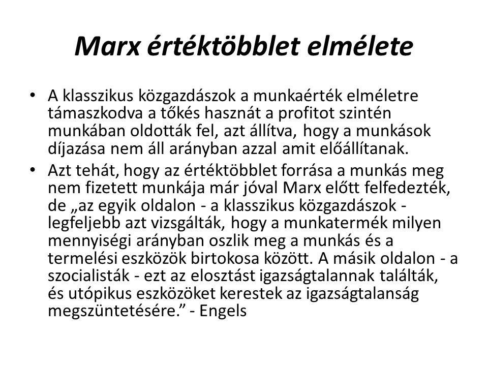 Marx értéktöbblet elmélete • A klasszikus közgazdászok a munkaérték elméletre támaszkodva a tőkés hasznát a profitot szintén munkában oldották fel, az