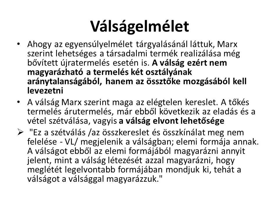 Válságelmélet • Ahogy az egyensúlyelmélet tárgyalásánál láttuk, Marx szerint lehetséges a társadalmi termék realizálása még bővített újratermelés eset