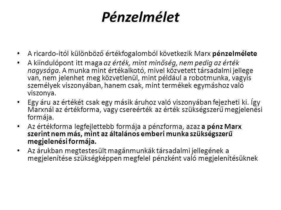 Pénzelmélet • A ricardo - itól különböző értékfogalomból következik Marx pénzelmélete • A kiindulópont itt maga az érték, mint minőség, nem pedig az é