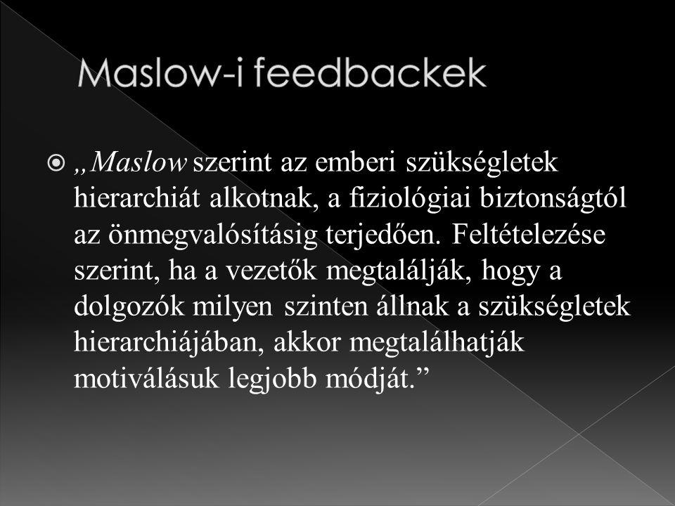 """ """"Maslow szerint az emberi szükségletek hierarchiát alkotnak, a fiziológiai biztonságtól az önmegvalósításig terjedően."""