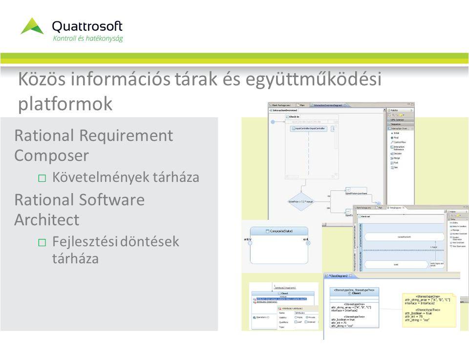 Közös információs tárak és együttműködési platformok Rational Requirement Composer □Követelmények tárháza Rational Software Architect □Fejlesztési döntések tárháza