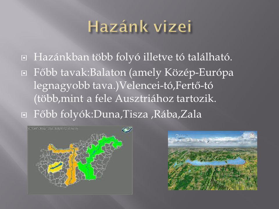  Hazánkban több folyó illetve tó található.  Főbb tavak:Balaton (amely Közép-Európa legnagyobb tava.)Velencei-tó,Fertő-tó (több,mint a fele Ausztriá