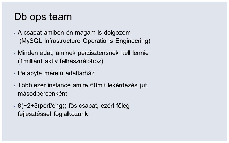 Db ops team ▪ A csapat amiben én magam is dolgozom (MySQL Infrastructure Operations Engineering) ▪ Minden adat, aminek perzisztensnek kell lennie (1milliárd aktív felhasználóhoz) ▪ Petabyte méretű adattárház ▪ Több ezer instance amire 60m+ lekérdezés jut másodpercenként ▪ 8(+2+3(perf/eng)) fős csapat, ezért főleg fejlesztéssel foglalkozunk