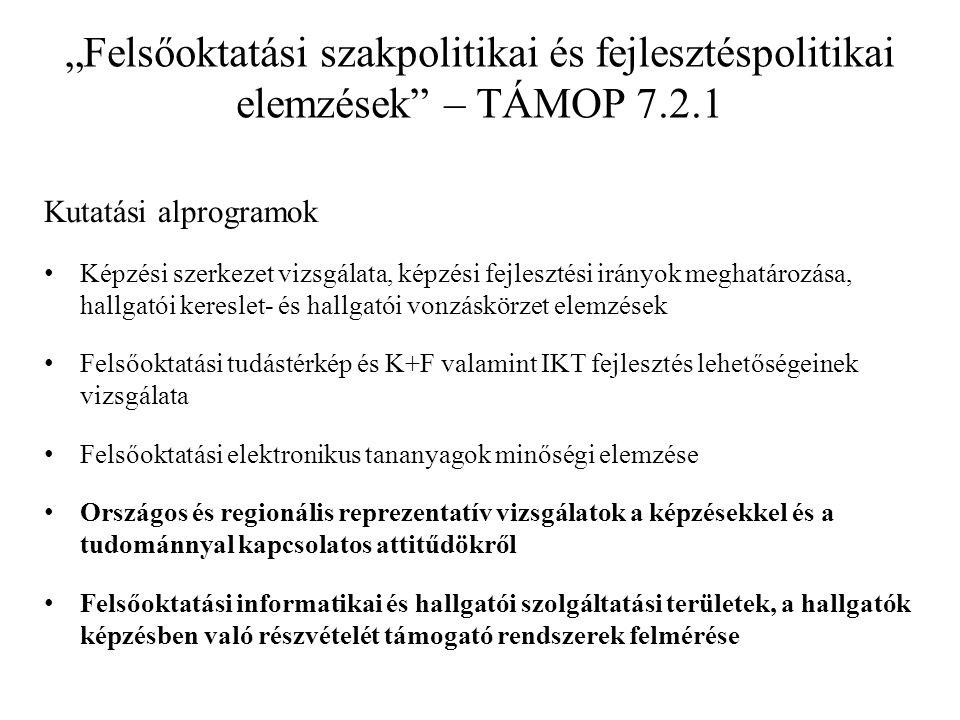 """""""Felsőoktatási szakpolitikai és fejlesztéspolitikai elemzések"""" – TÁMOP 7.2.1 Kutatási alprogramok • Képzési szerkezet vizsgálata, képzési fejlesztési"""