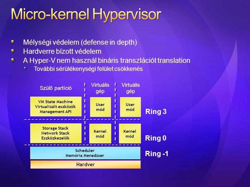Mélységi védelem (defense in depth) Hardverre bízott védelem A Hyper-V nem használ bináris transzlációt translation További sérülékenységi felület csö