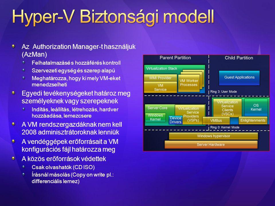 Az Authorization Manager-t használjuk (AzMan) Felhatalmazásé s hozzáférés kontroll Szervezeti egység és szerep alapú Meghatározza, hogy ki mely VM-eke
