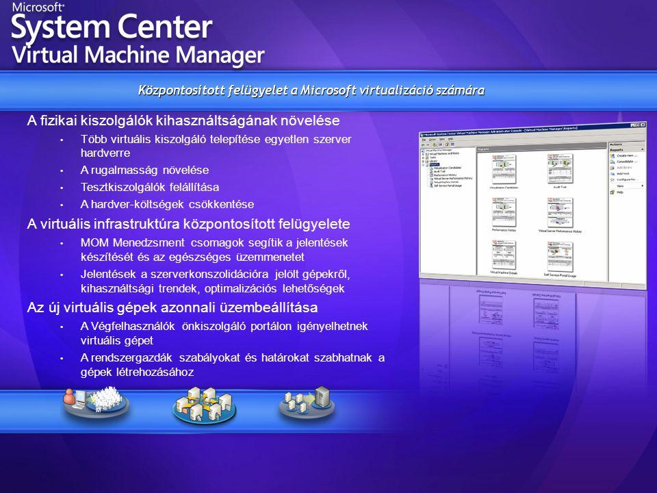 A fizikai kiszolgálók kihasználtságának növelése • Több virtuális kiszolgáló telepítése egyetlen szerver hardverre • A rugalmasság növelése • Tesztkis