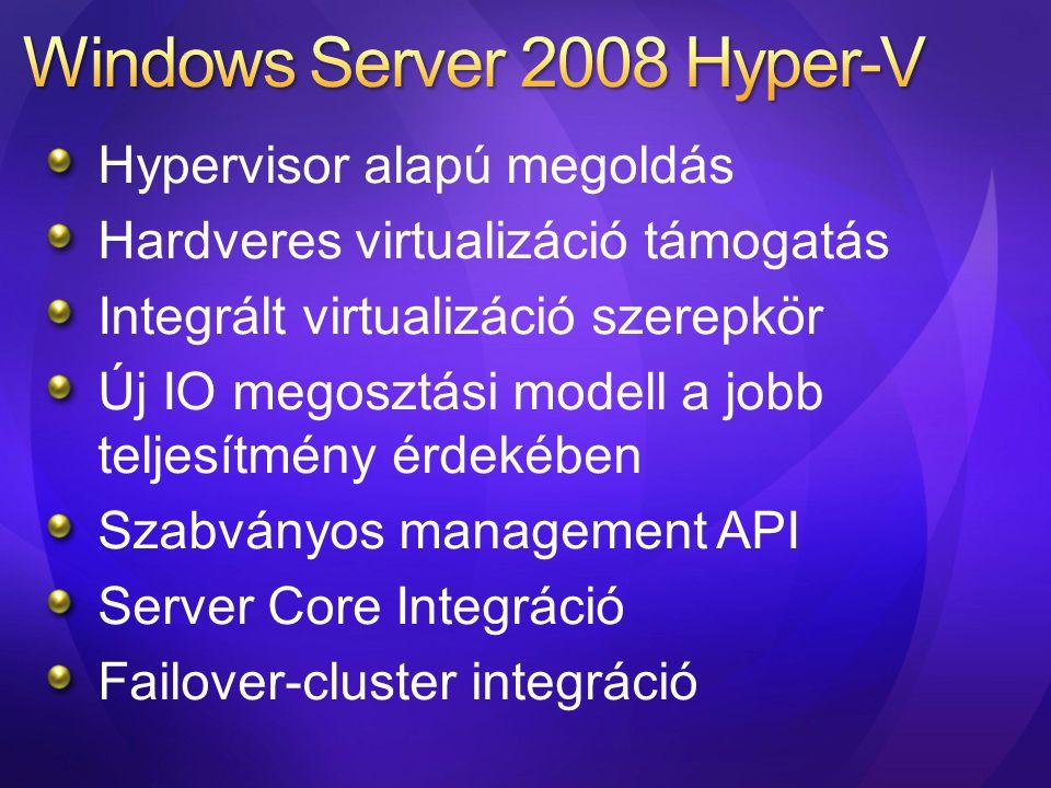 Mélységi védelem (defense in depth) Hardverre bízott védelem A Hyper-V nem használ bináris transzlációt translation További sérülékenységi felület csökkenés Scheduler Memória Menedzser Hardver VM State Machine Virtualizált eszközök Management API Ring -1 Storage Stack Network Stack Eszközkezelők User mód Kernel mód User mód Kernel mód Ring 0 Ring 3 Szülő partíció Virtuális gép