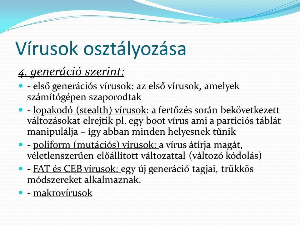 Vírusok osztályozása 4. generáció szerint:  - első generációs vírusok: az első vírusok, amelyek számítógépen szaporodtak  - lopakodó (stealth) vírus