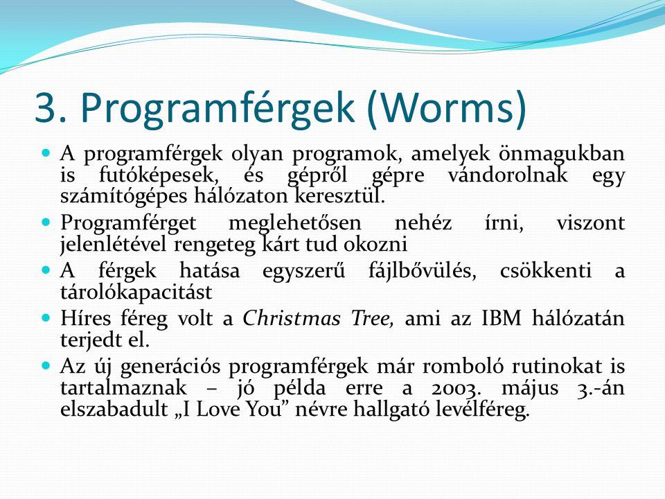 3. Programférgek (Worms)  A programférgek olyan programok, amelyek önmagukban is futóképesek, és gépről gépre vándorolnak egy számítógépes hálózaton