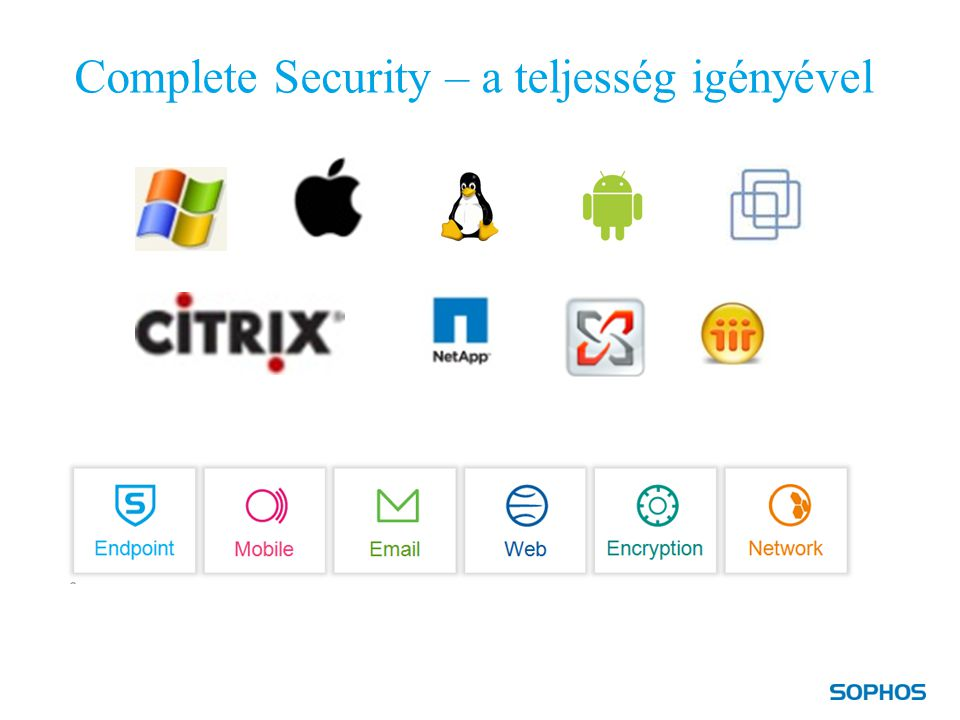 """Teljeskörű biztonság – Sophos módra 1.Jobb védelem: """"a biztonsági réteg a nagyvállalati IT számára:  Együtt jobban működik  Nagyobb átláthatóság  Teljes biztonsági életciklus  Active Protection 2.Jobb érték: kevésbé bonyolult, szakértők támogatják és IT költségvetés kimélő 10"""