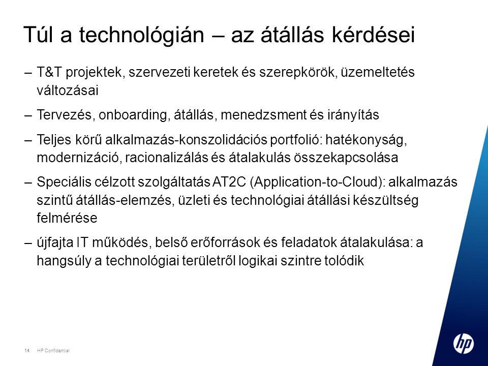 14 HP Confidential 14 Túl a technológián – az átállás kérdései –T&T projektek, szervezeti keretek és szerepkörök, üzemeltetés változásai –Tervezés, onboarding, átállás, menedzsment és irányítás –Teljes körű alkalmazás-konszolidációs portfolió: hatékonyság, modernizáció, racionalizálás és átalakulás összekapcsolása –Speciális célzott szolgáltatás AT2C (Application-to-Cloud): alkalmazás szintű átállás-elemzés, üzleti és technológiai átállási készültség felmérése –újfajta IT működés, belső erőforrások és feladatok átalakulása: a hangsúly a technológiai területről logikai szintre tolódik