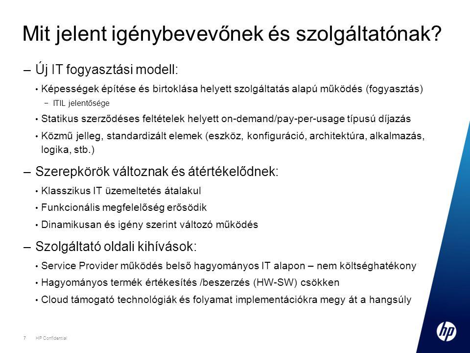 7 HP Confidential 7 Mit jelent igénybevevőnek és szolgáltatónak? –Új IT fogyasztási modell: • Képességek építése és birtoklása helyett szolgáltatás al