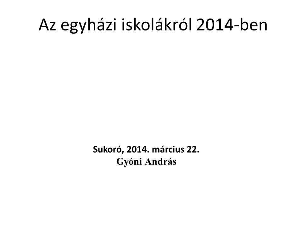 Az egyházi iskolákról 2014-ben Sukoró, 2014. március 22. Gyóni András