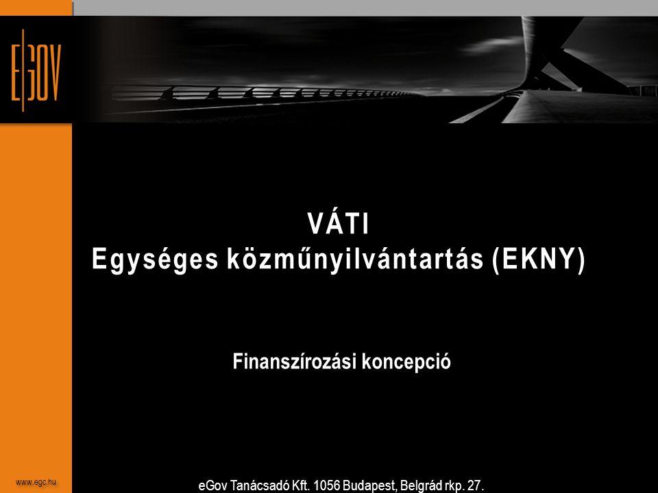 eGov Tanácsadó Kft. 1056 Budapest, Belgrád rkp. 27. www.egc.hu VÁTI Egységes közműnyilvántartás (EKNY) Finanszírozási koncepció www.egc.hu