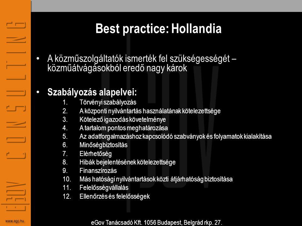 eGov Tanácsadó Kft. 1056 Budapest, Belgrád rkp. 27. www.egc.hu Best practice: Hollandia • A közműszolgáltatók ismerték fel szükségességét – közműátvág