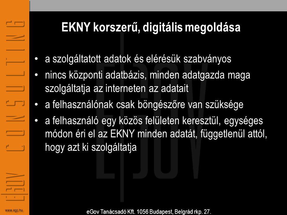 eGov Tanácsadó Kft. 1056 Budapest, Belgrád rkp. 27. www.egc.hu EKNY korszerű, digitális megoldása • a szolgáltatott adatok és elérésük szabványos • ni