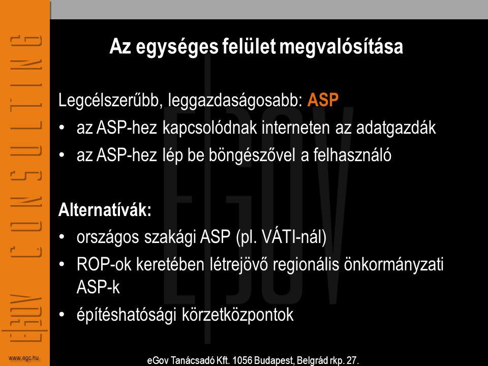 eGov Tanácsadó Kft. 1056 Budapest, Belgrád rkp. 27. www.egc.hu Az egységes felület megvalósítása Legcélszerűbb, leggazdaságosabb: ASP • az ASP-hez kap