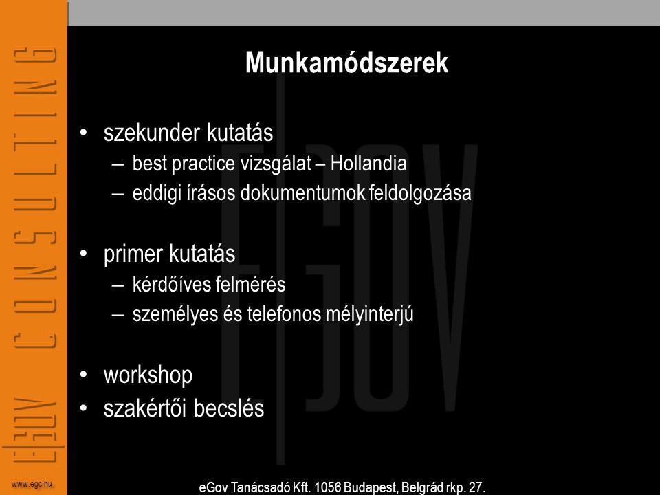 eGov Tanácsadó Kft. 1056 Budapest, Belgrád rkp. 27. www.egc.hu Munkamódszerek • szekunder kutatás – best practice vizsgálat – Hollandia – eddigi íráso