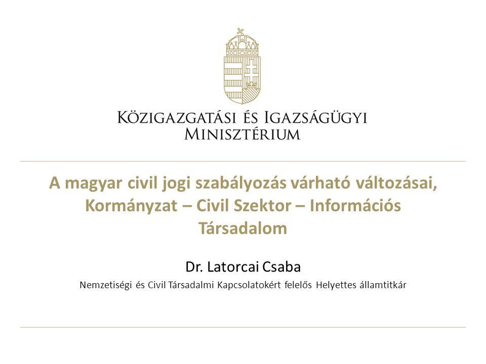A magyar civil jogi szabályozás várható változásai, Kormányzat – Civil Szektor – Információs Társadalom Dr.