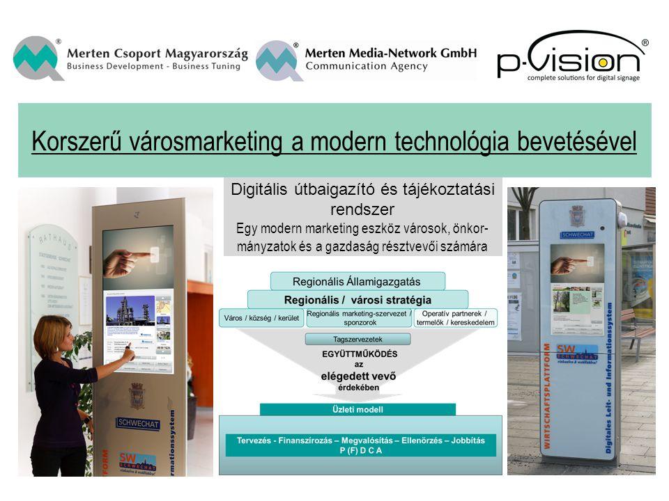 Korszerű városmarketing a modern technológia bevetésével Digitális útbaigazító és tájékoztatási rendszer Egy modern marketing eszköz városok, önkor- mányzatok és a gazdaság résztvevői számára