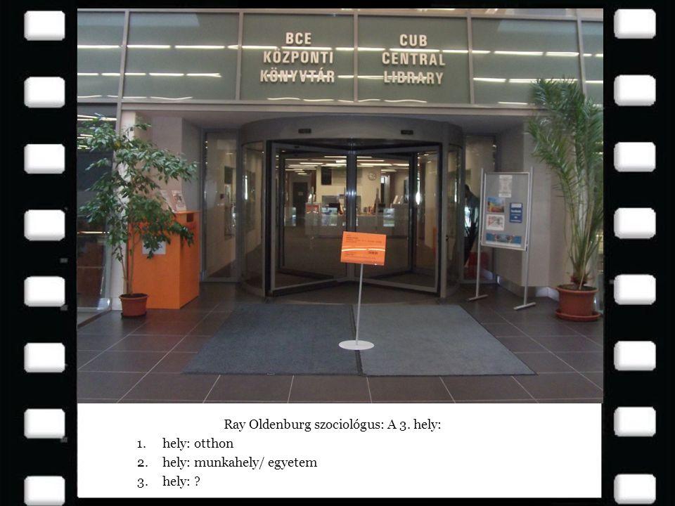 Ray Oldenburg szociológus: A 3. hely: 1.hely: otthon 2.hely: munkahely/ egyetem 3.hely: ?