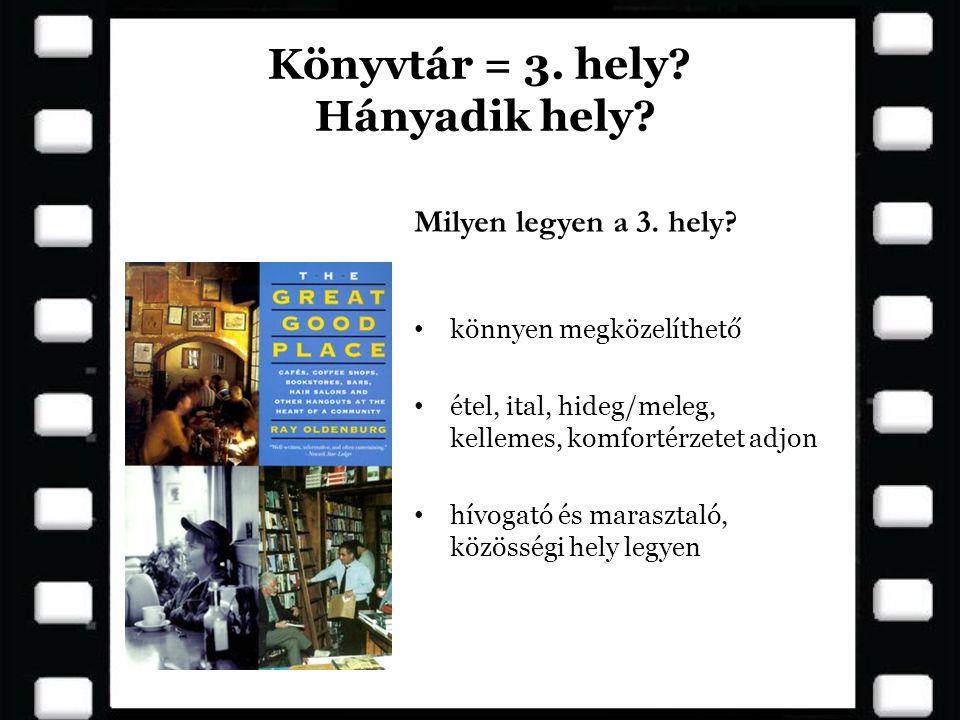 Könyvtár = 3. hely? Hányadik hely? • könnyen megközelíthető • étel, ital, hideg/meleg, kellemes, komfortérzetet adjon • hívogató és marasztaló, közöss