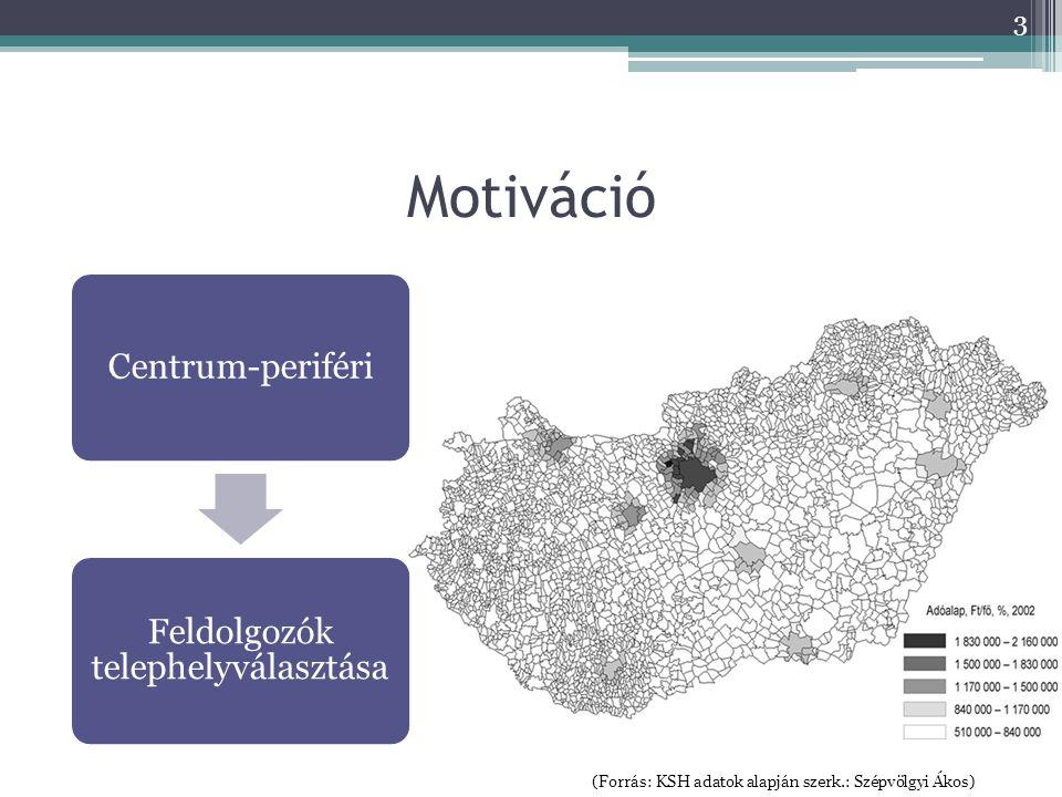(Forrás: KSH adatok alapján szerk.: Szépvölgyi Ákos) Centrum-periféri Feldolgozók telephelyválasztása 3