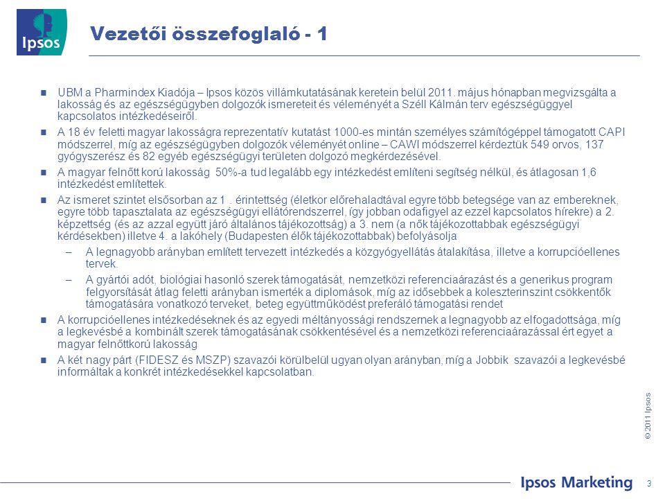 4 © 201 1 Ipsos Vezetői összefoglaló - 2  Érdekes, hogy az egyes tervezett intézkedéseket közel azonos arányban utasítják el az MSZP és Jobbik szavazói  Az LMP szavazói a számukra vélhetően kevésbé releváns intézkedéseket átlag alatti arányban ismerik (mint pl.