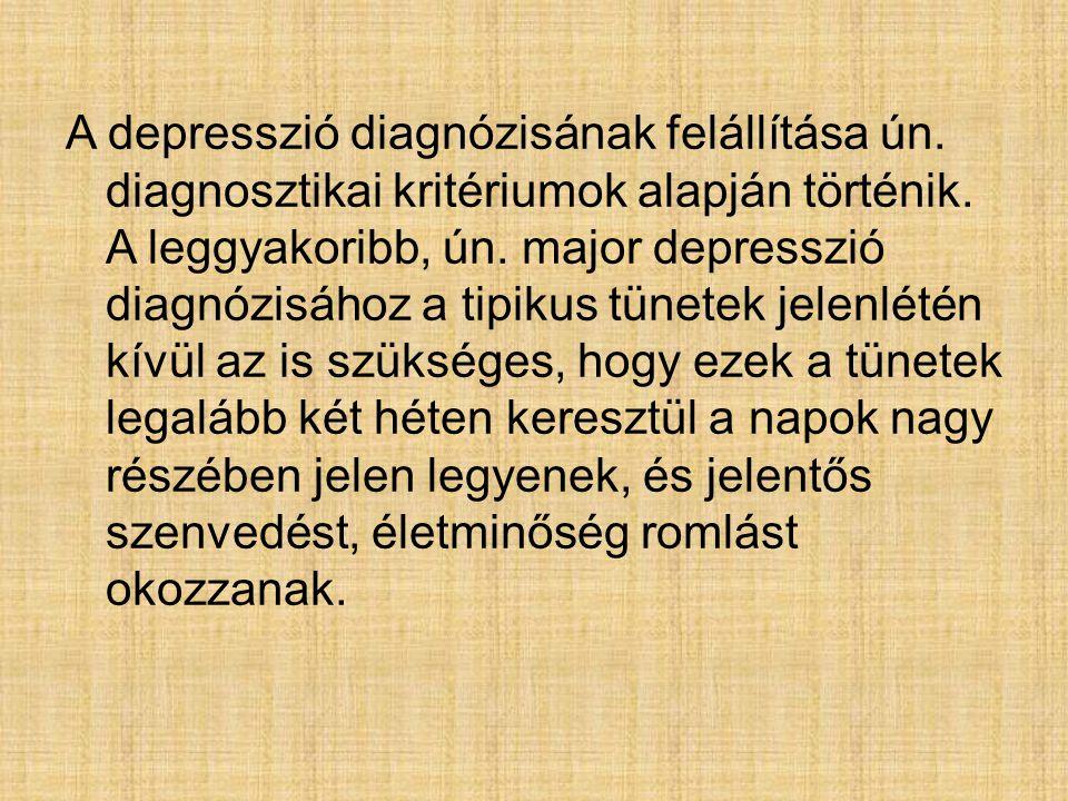 A depresszió diagnózisának felállítása ún. diagnosztikai kritériumok alapján történik. A leggyakoribb, ún. major depresszió diagnózisához a tipikus tü
