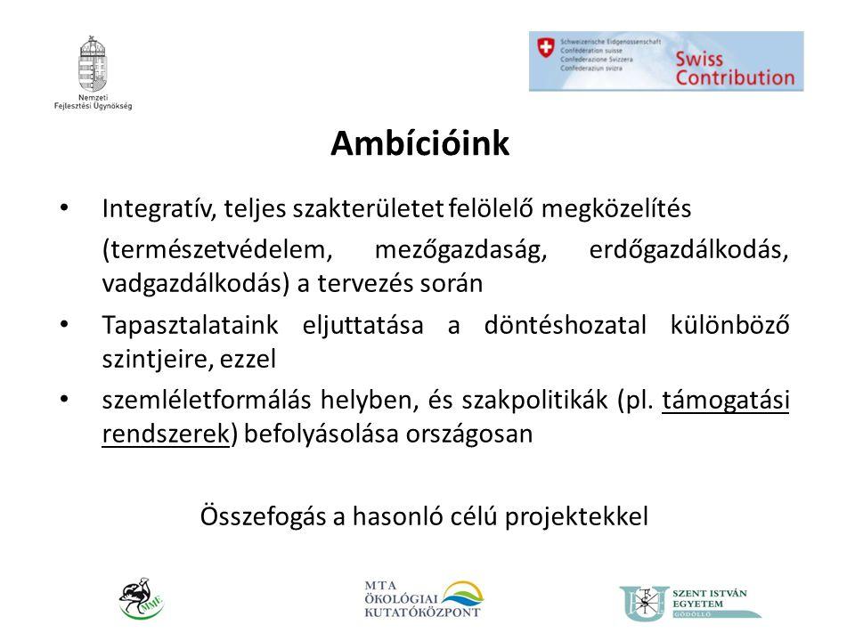 Ambícióink • Integratív, teljes szakterületet felölelő megközelítés (természetvédelem, mezőgazdaság, erdőgazdálkodás, vadgazdálkodás) a tervezés során