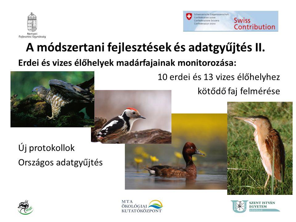 A módszertani fejlesztések és adatgyűjtés II. Erdei és vizes élőhelyek madárfajainak monitorozása: 10 erdei és 13 vizes élőhelyhez kötődő faj felmérés