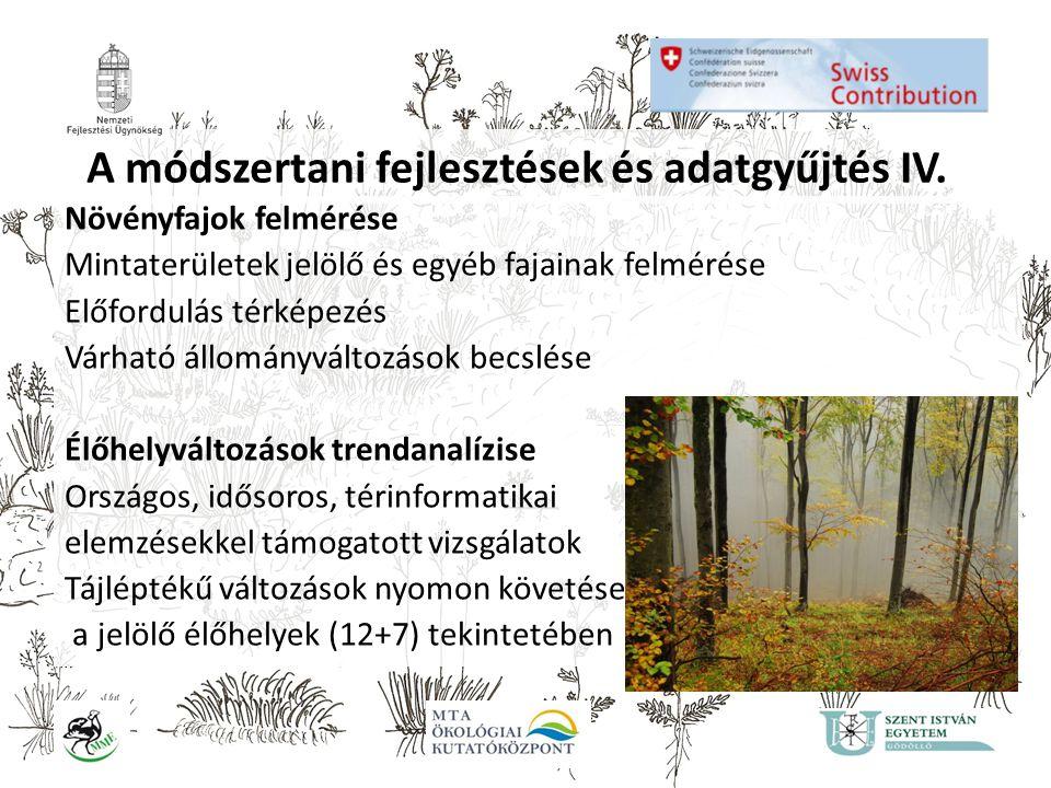 A módszertani fejlesztések és adatgyűjtés IV. Növényfajok felmérése Mintaterületek jelölő és egyéb fajainak felmérése Előfordulás térképezés Várható á