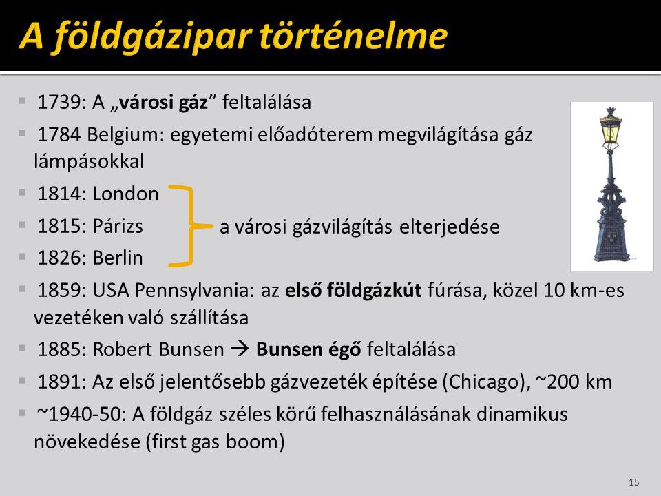 """ 1739: A """"városi gáz"""" feltalálása  1784 Belgium: egyetemi előadóterem megvilágítása gáz lámpásokkal  1814: London  1815: Párizs  1826: Berlin  1"""