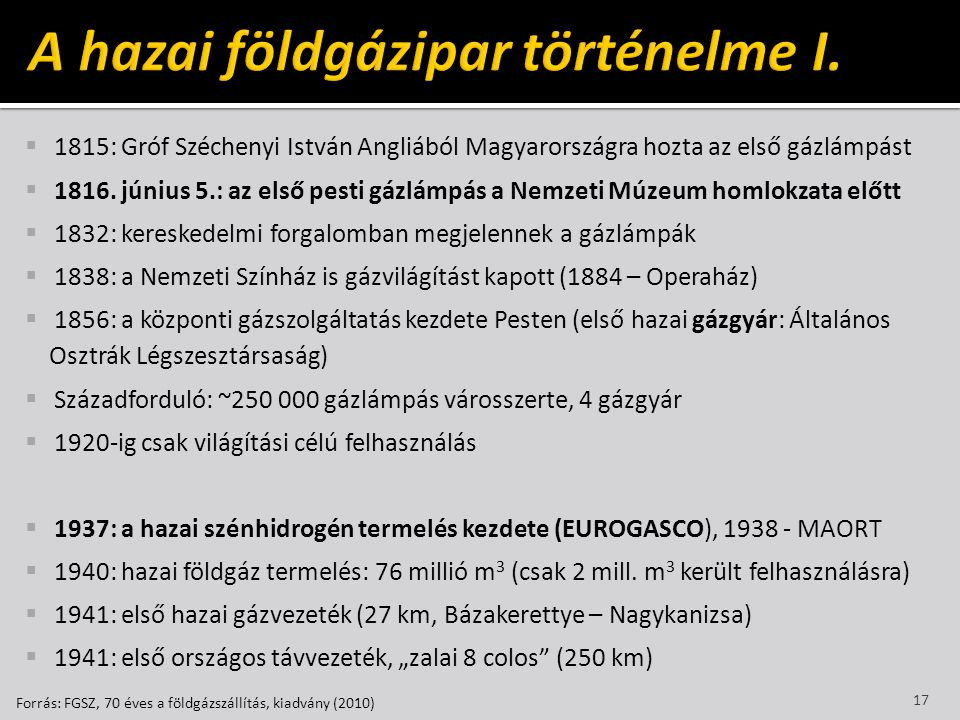  1815: Gróf Széchenyi István Angliából Magyarországra hozta az első gázlámpást  1816. június 5.: az első pesti gázlámpás a Nemzeti Múzeum homlokzata