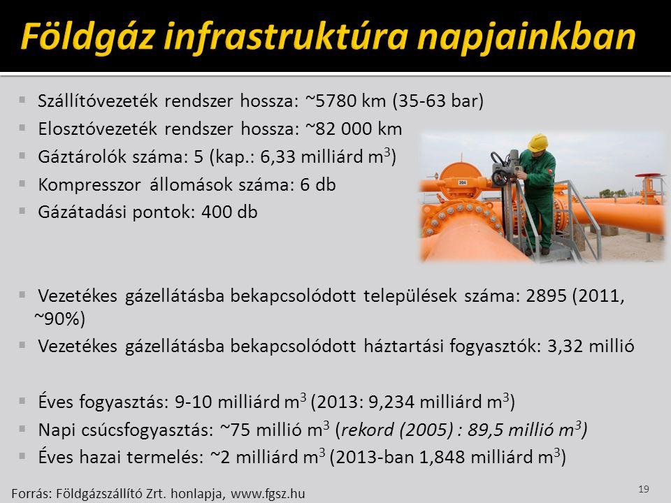  Szállítóvezeték rendszer hossza: ~5780 km (35-63 bar)  Elosztóvezeték rendszer hossza: ~82 000 km  Gáztárolók száma: 5 (kap.: 6,33 milliárd m 3 )