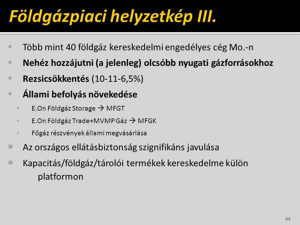  Több mint 40 földgáz kereskedelmi engedélyes cég Mo.-n  Nehéz hozzájutni (a jelenleg) olcsóbb nyugati gázforrásokhoz  Rezsicsökkentés (10-11-6,5%)