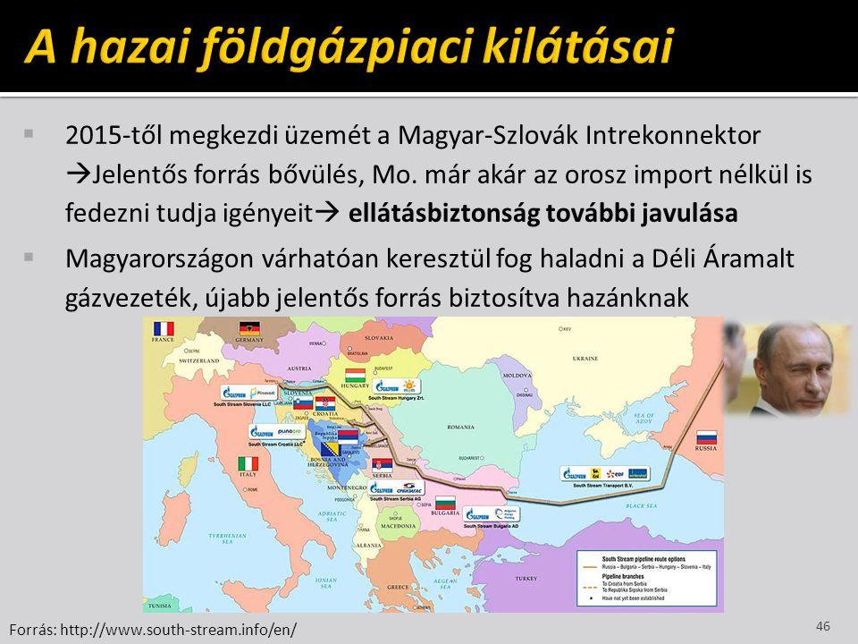  2015-től megkezdi üzemét a Magyar-Szlovák Intrekonnektor  Jelentős forrás bővülés, Mo. már akár az orosz import nélkül is fedezni tudja igényeit 