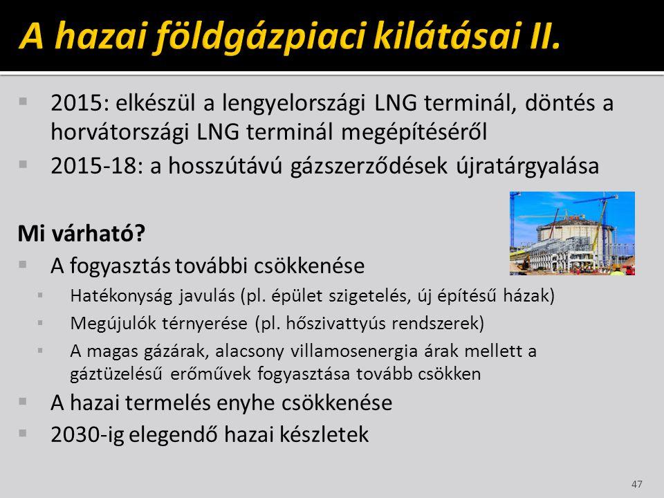  2015: elkészül a lengyelországi LNG terminál, döntés a horvátországi LNG terminál megépítéséről  2015-18: a hosszútávú gázszerződések újratárgyalás